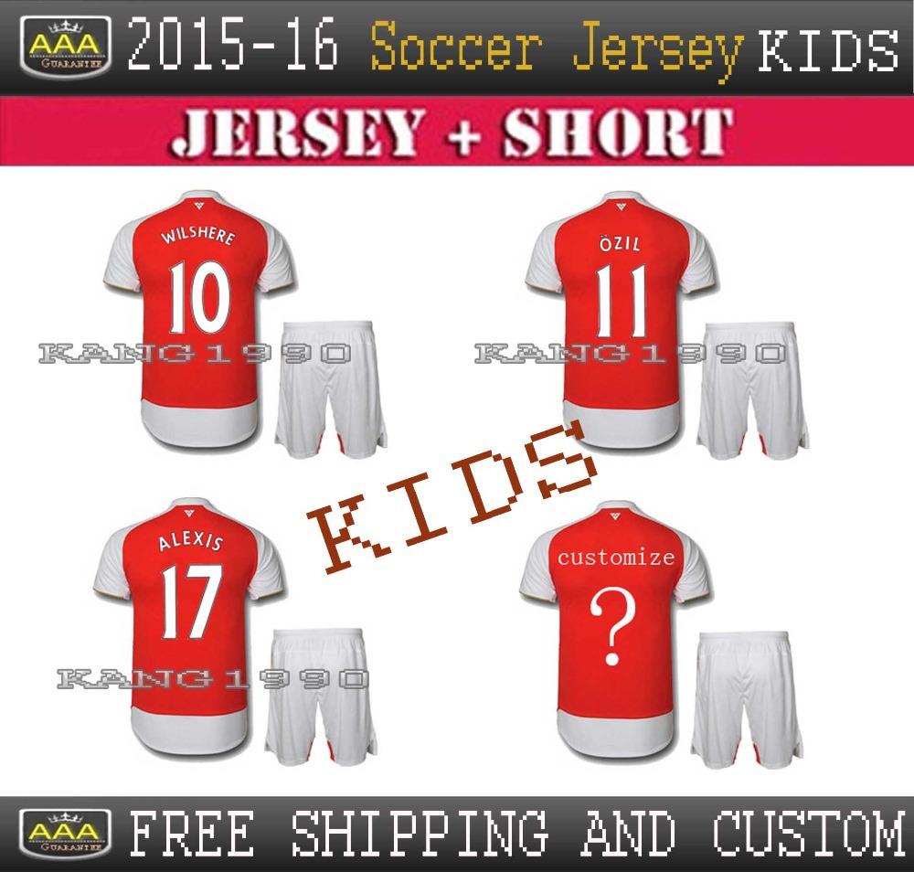 Thai best quality 15/16 Home Away soccer jersey kids, Ozil Alexis Wilshere RAMSEY Giroud Cazorla training t-shirt, football kids(China (Mainland))