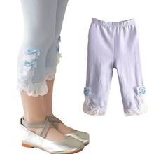 Girls Leggings Bow Lace Leggings Girls Children Leggings Summer Solid Elastic Waist Baby Girl Clothes 2557C