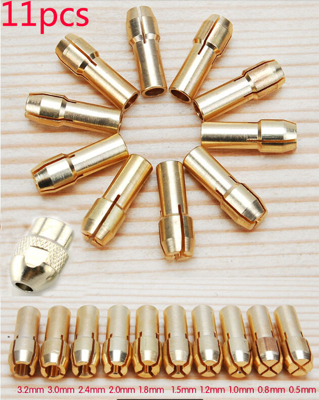Free Shipping 11 Pieces Brass Dremel Collet Mini Drill Chucks Including 0.5/0.8/1.0/1.2/1.5/1.8/2.0/2.4/3.0/3.2mm<br><br>Aliexpress