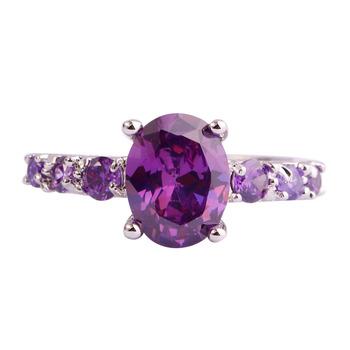 lingmei Fashion Wholesale Women Oval Cut Amethyst Silver Ring Size 6 7 8 9 10 11 12 13 Purple Party Jewelry Free Shipping