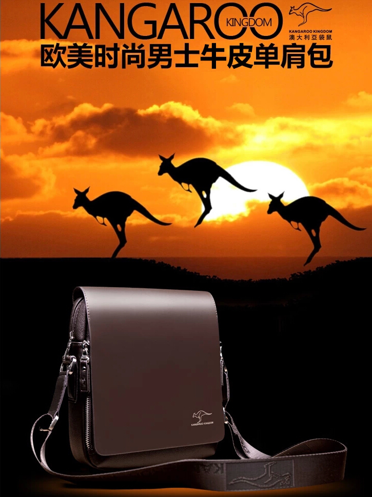 New men's travel bags 2014 Designer Brand Men Messenger Bag Men's big promotion Kangaroo brand leather shoulder handbags(China (Mainland))