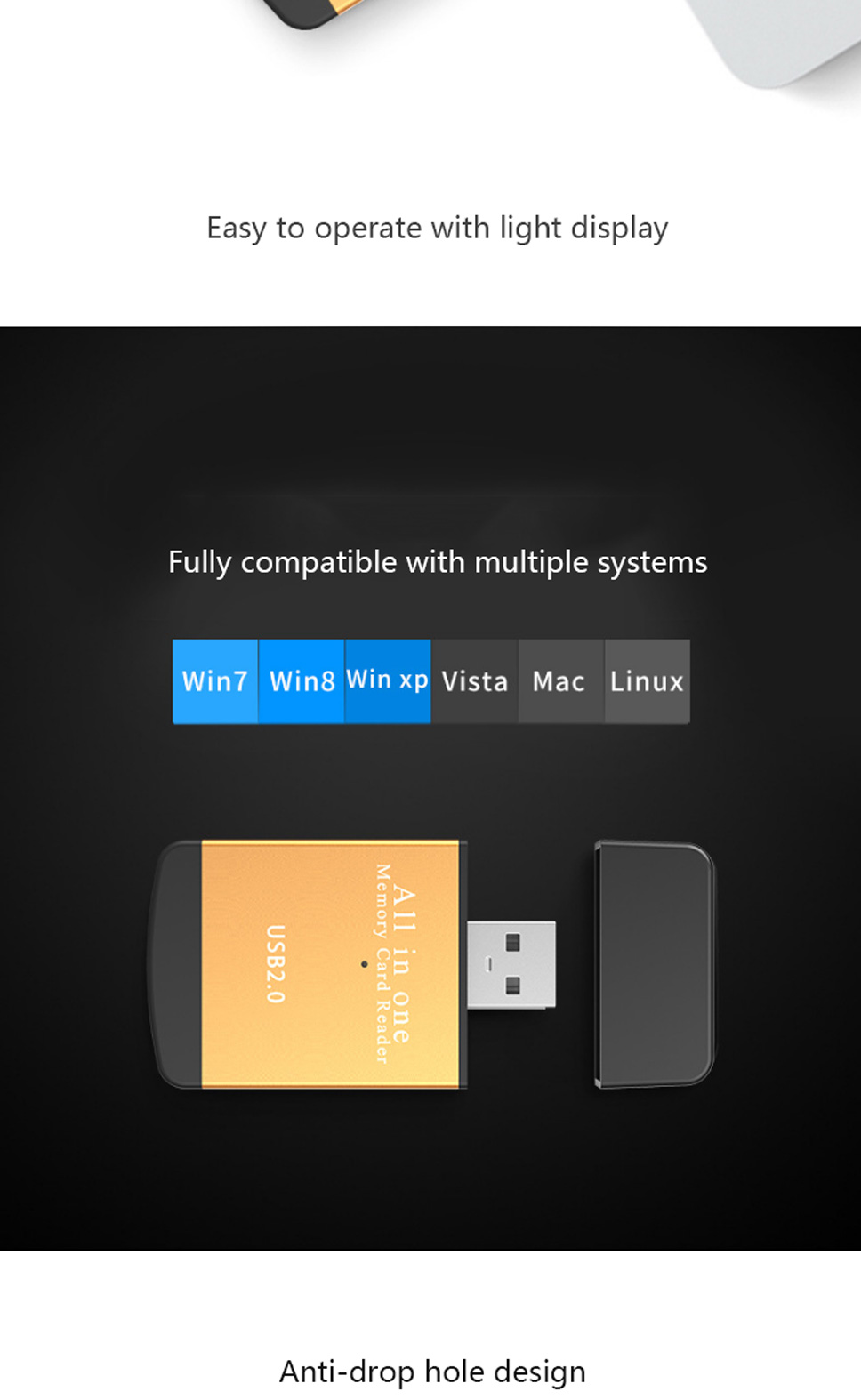 Multi Functional 4 In 1 High Speed Usb 20 Tf Micro Sd Card Mdisk Kabel Charger And Data Led G319 5 480mbps Rate Transmission