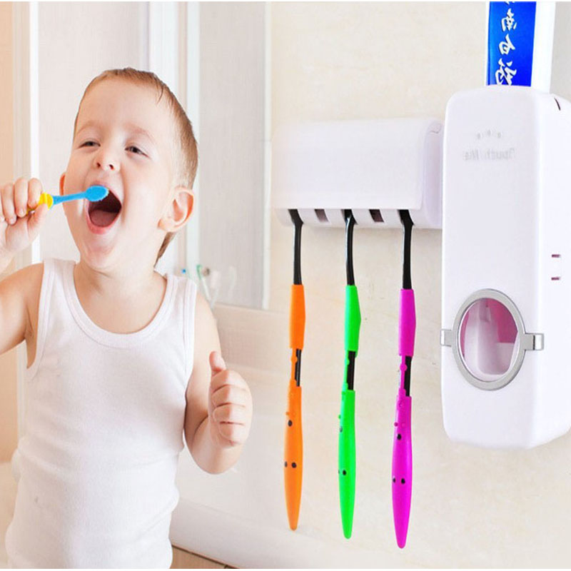 Hands Free Toothpaste Dispenser Automatic Toothpaste Squeezer and Holder Set (5 Brush Holder)(China (Mainland))