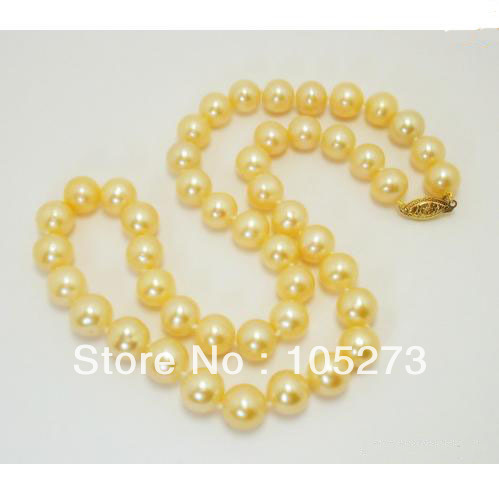 Wholesale 10-11mm Yellow Gold Color Natural Freshwater Pearl Necklace 18 Class Ladys Pearl Jewelry New Free Shipping<br><br>Aliexpress