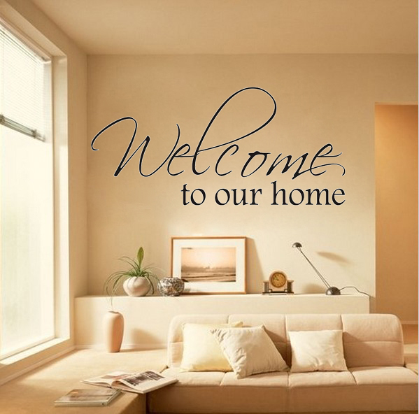 welcome to our home wall say quote word lettering art