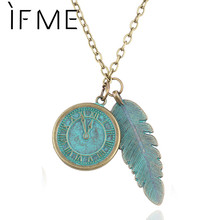 IF ME Designer jewellery Personality Maxi Necklace Retro Bronze Clock And Leaves Model Necklaces & Pendant Jewelry For Women(China (Mainland))