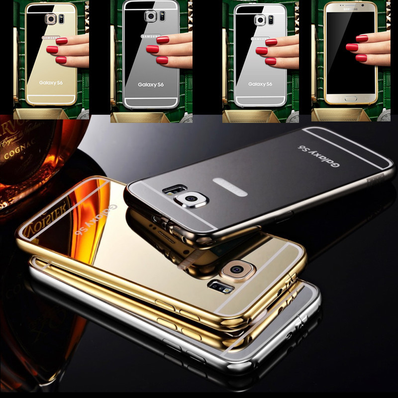2015 S6 Luxury Metal Frame Mirror Case for Samsung Galaxy S6 G9200 /S6 Edge Acrylic Back Cover Case For Galaxy S6 Fundas Coque(China (Mainland))