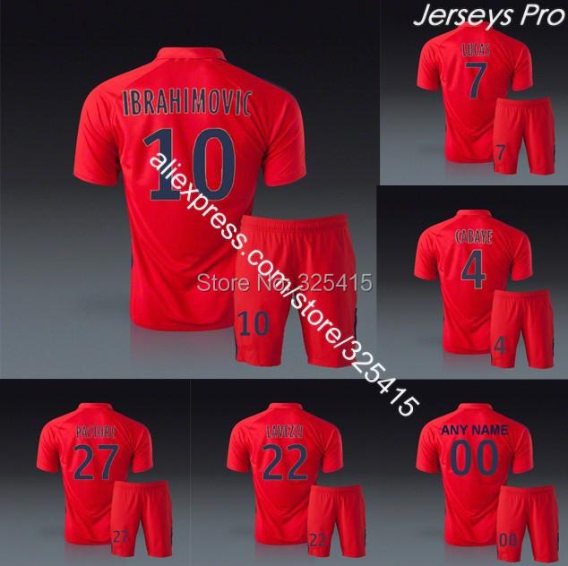 Maillots de foot football uniforms soccer jerseys paris third red kits ibrahimovic matuidi verratti cabaye lucas lavezzi maxwell(China (Mainland))