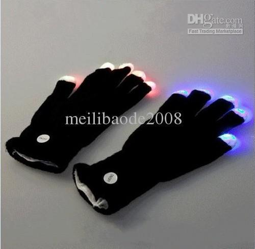 LED Gloves Rave Light Finger Flashing Glow Mittens For Party MGXA019