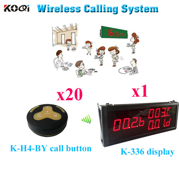Wireless Service Calling System Digital Led Display CE Approved Transmitter Receiver (1 display 20 call button)(China (Mainland))