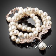 AZORA Fashion Imitation Pearl Love 18K Rose Gold Plated Stellux Austrian Crystal Jewelry Necklace TN0097