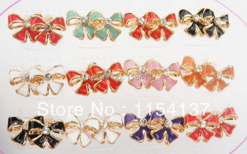 Free shipping alloy rose gold enamel butterfly bow earrings with rhinestone,mix colors as photo RGER2174<br><br>Aliexpress