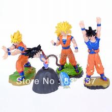 Classic High Quality Anime Cartoon Dragon Ball Z Action figures 4PCS/SET Super Saiyan Sun Goku Toys For Children's Gift