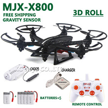 Free shipping MJX X800 RC helicopter drone quadcopter 2.4G 6-axis 4CH RC quadcopter add 4pcs battery an 1in4 charger as gift
