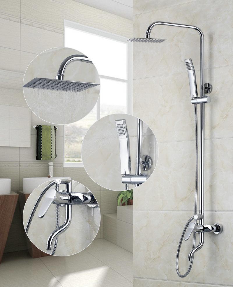 """Square 8"""" A Grade ABS Plastic Shower Head Chrome Bathroom Brass shower Faucet Shower Set DS-53030(China (Mainland))"""