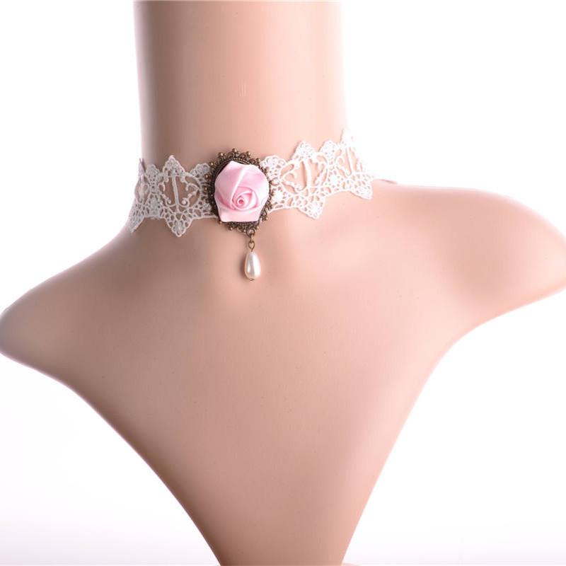 N438 розовый готическая лолита кружева ожерелье свадебные аксессуары 2013 короткая дизайн оптовая продажа дилер