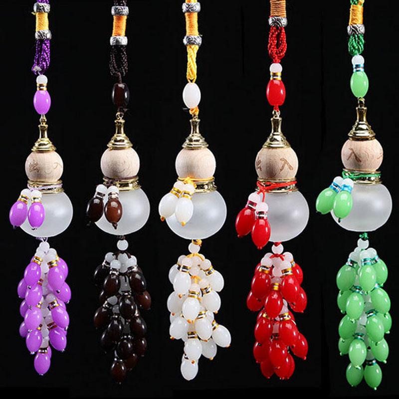 Car Pendant Perfume Bottle Colored Beads Gourd Safe Glass Car Accessories Gift Automotive Interiors Auto Decoration VBR13 P51(China (Mainland))