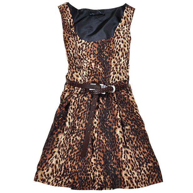 Women Leopard Print Sundress 2015 Summer Style Female Elegant Above Knee Length Sleeveless Dress Vestidos De Festa Hot(China (Mainland))