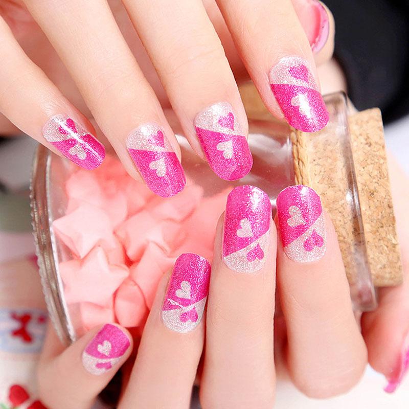 Heart shape nail art nails sticker unhas stickers manicure for Decor unhas