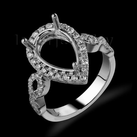 New Pear 8x12mm Solid 18kt White Gold Diamond Semi mount Wedding Ring SR0007(China (Mainland))