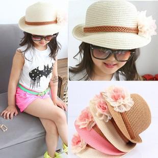 Free shipping 2015 fashion summer children straw sun hat women knitted hats kid's sun hat girl's flower beach caps(China (Mainland))