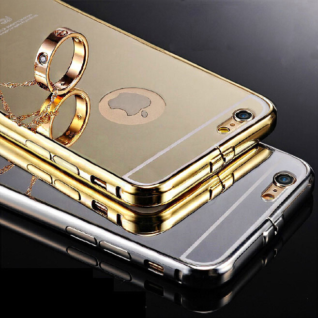 Tomkas Mirror Aluminum Case For iPhone 6 4.7 inch Luxury Metal Frame Ultra Slim Acrylic Back Cover For iPhone 6 Plus 5.5 inch(China (Mainland))
