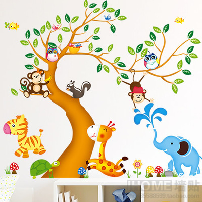 Buy oversize jungle animals tree monkey owl removable wall d - Stickers muraux one piece ...