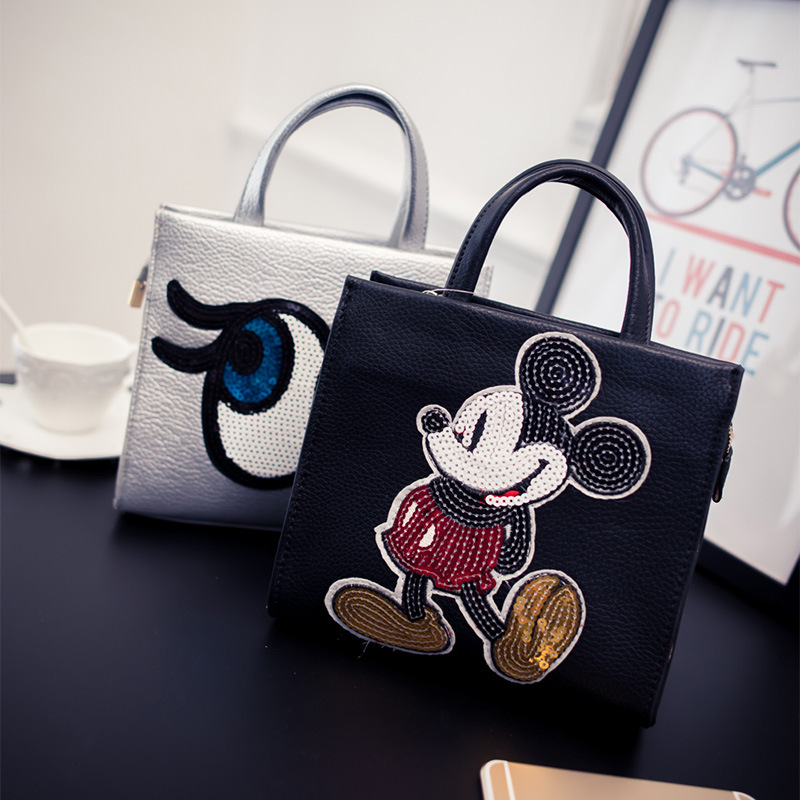 Hot Sale Vintage Cartoon Women Handbags Fashion Paillette Patchwork Shoulder bags High Quality Women Tote Free Shipping 1400(China (Mainland))