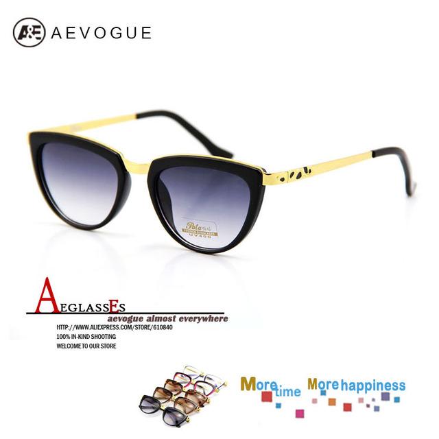 Aevogue металл Cat в глаз солнечные очки женщины леопардовый рука прозрачный линзы солнцезащитные очки AE0062
