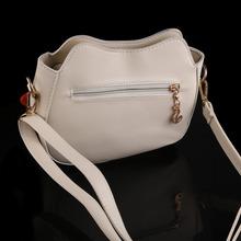 Women Owl Pattern Faux Leather Small Cross Body Bag Shoulder Bag Apricot PTSP