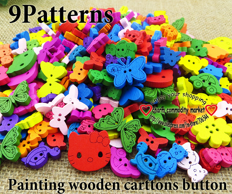 30%OFF Promotion 200pcs 9pattern mixed painting cartoon sewing buttons bulk wooden clothes button craft scrapbooking WCB-077(China (Mainland))