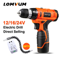 12V mini furadeira electric woodworking cordless screwdriver drill lithium rechargeable battery screw gun rotary tool LOMVUM