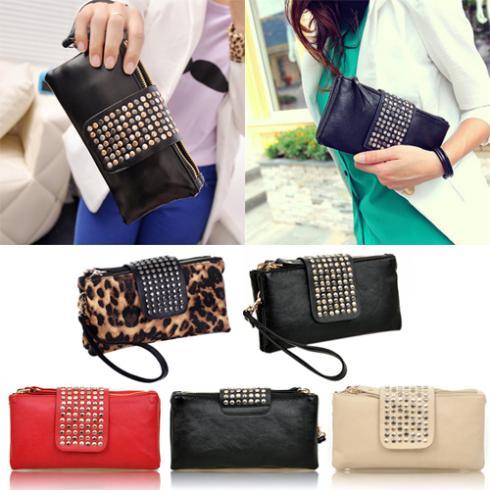 Гаджет  Women Rivet Zipper Wallet Holder Card Coin Clutch Purse Wristlet Evening Bag  1QD2 None Камера и Сумки