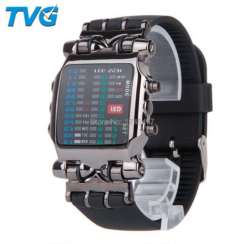 2015 Fashion Men full steel Sports watch TVG Brand Matrix Super Cool 21 Colorful LED Digital Binary Wrist Watches Military watch(China (Mainland))