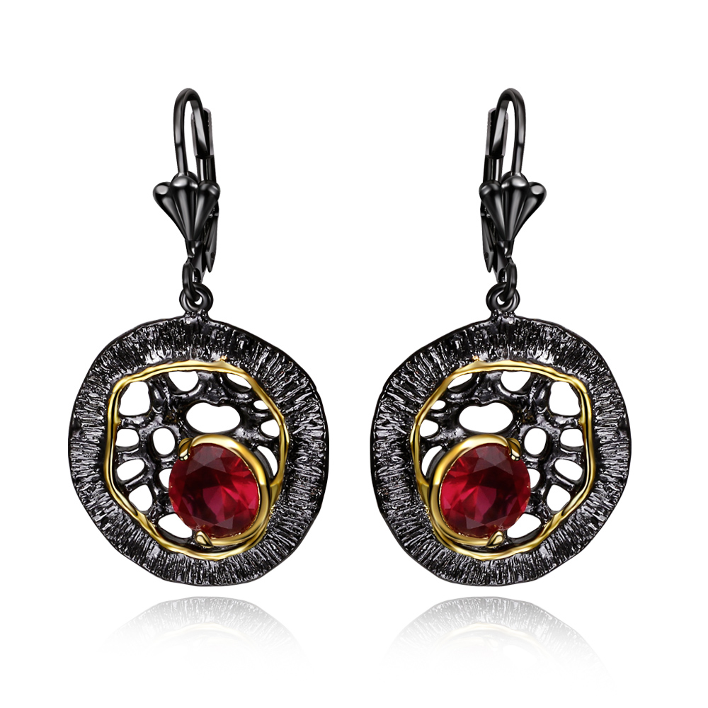 New Coming Red and Black AAA Red Saphire Stone CZ Earrings Dangling Hook Earrings(China (Mainland))