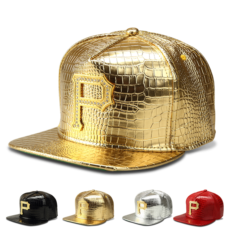 New High Quality Fashion Bling P Letter Pendant Hip Hop Cap Snakeskin Pu Leather Unisex Rapper Hat Men's Gift Free Shipping(China (Mainland))