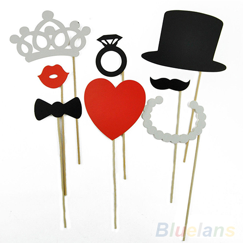 8Pcs DIY Photo Booth Props Mustache Lip Ring Heart Crown Stick Lovely Party Wedding Accessories 1TSG(China (Mainland))