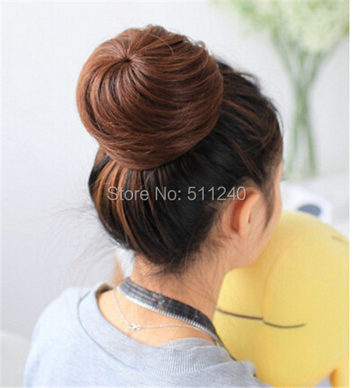 New Arrival Long Straight Girls Women Dish Hair Bun Wig Synthetic Fashion Ponytail Scrunchie Women Hairpieces(China (Mainland))