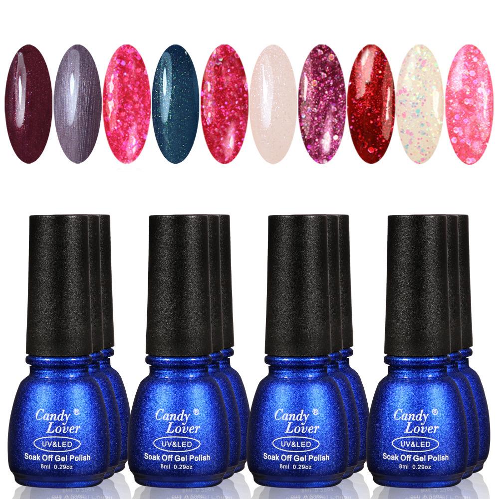 Candy Lover 8ml Nail Art UV Gel colour Soak off Polish UV LED lamp Glitter Decoration Tips 12pcs/lot cheap nail Lacquer<br><br>Aliexpress