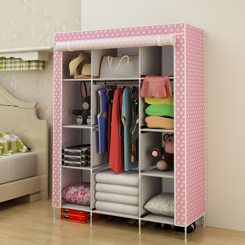 [ Cabinet ] product family bearing steel furniture three simple wardrobe closet storage closet cloth partition shipping(China (Mainland))