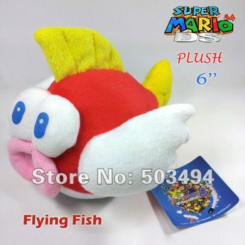Free shipping 30PCS/LOT 6 inches Super Mario Bros Character Plush Toy Flying Fish Soft Fluffy Doll Flying fish plush toy dolls