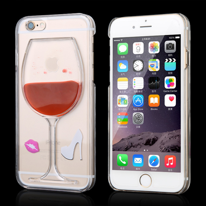 New Creative case for iphone 5 5S Liquid Quicksand red lip wine glass cocktail bottle clear transparent Phone Case ASJ008701(China (Mainland))