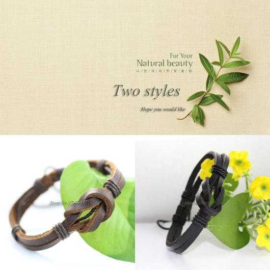Classic lederen armband (2pcs/lot) Braided real vintage friendship wrap leather bracelet men&women pulseras cuero -K8(China (Mainland))