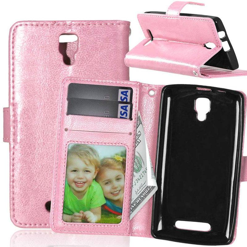 Lenovo K5 Case Crazy Horse Card Holder PU Leather Wallet Magnetic Flip Vibe / Plus A6020 Lemon 3  -  TCD Shop store