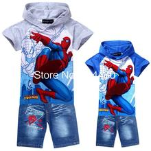 fashion 2014 spiderman children clothing sets,cartoon baby hoodies jeans suit,retail boys short sleeve t shirt pants Blue Gray(China (Mainland))