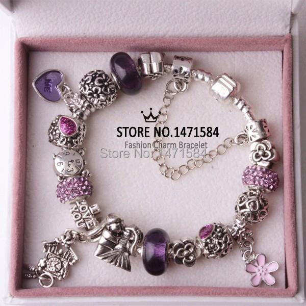 European Fashion Purple Wall clock beads Fit Pandora Style Bracelets for women Charm I LOVE YOU Bead Wholesale Free shipping(China (Mainland))