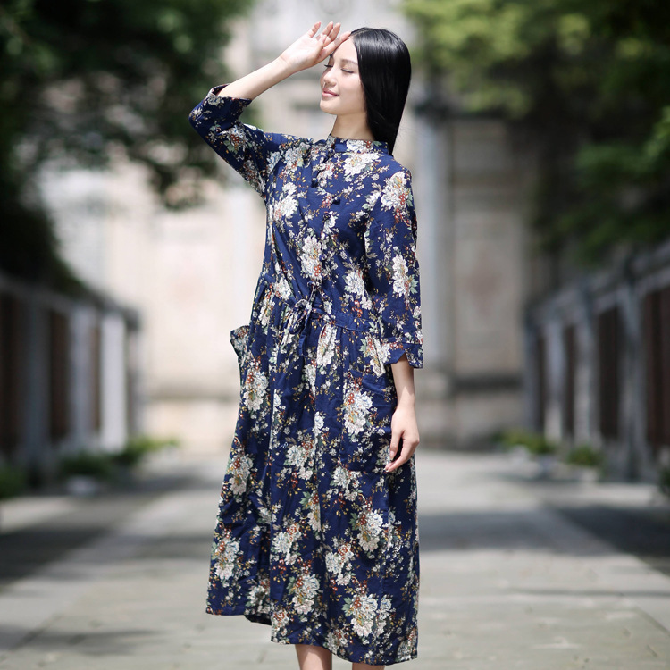 Twods 2015 new spring long dress women swing floral print navy blue dress tang collar two pocket three quarter sleeve long dress