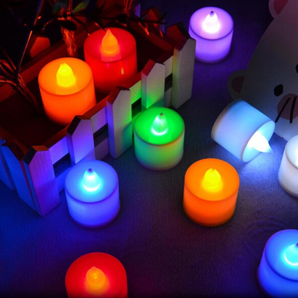 Wholesale 10 PCS LED Candle 6 Colors Flameless Flickering LED Tea Light Battery Candles Wedding Party Holiday Decoration(China (Mainland))