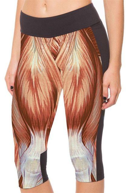 2015 новый бренд капри спортивные леггинсы высокая талия мышцы печать брюки леди ...