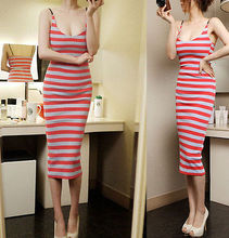 2016 new style fashion Sexy Women Lady Backless Spaghetti Strap Bodycon Striped Cocktail Party Dress(China (Mainland))